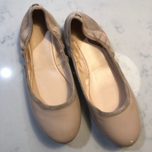 Cole Hann nude pink patent and suede ballet flats